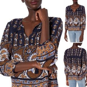 NWT Lucky Brand Printed Laura Lace Peasant Top